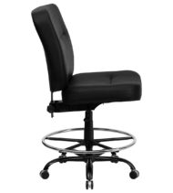 HERCULES Series 400 lb. Capacity Big & Tall Black Leather Drafting Stool with Extra WIDE Seat -17382