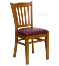 HERCULES Series Cherry Finished Vertical Slat Back Wooden Restaurant Chair with Burgundy Vinyl Seat -0