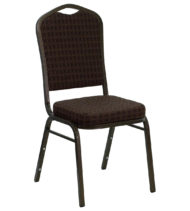 HERCULES Series Crown Back Stacking Banquet Chair with Brown Patterned Fabric and 2.5'' Thick Seat - Gold Vein Frame -0