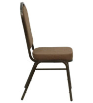 HERCULES Series Crown Back Stacking Banquet Chair with Coffee Fabric and 2.5'' Thick Seat - Gold Vein Frame -17051
