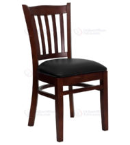 HERCULES Series Mahogany Finished Vertical Slat Back Wooden Restaurant Chair with Black Vinyl Seat -0