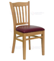 HERCULES Series Natural Wood Finished Vertical Slat Back Wooden Restaurant Chair with Burgundy Vinyl Seat -0