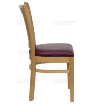 HERCULES Series Natural Wood Finished Vertical Slat Back Wooden Restaurant Chair with Burgundy Vinyl Seat -18297
