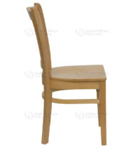 HERCULES Series Natural Wood Finished Vertical Slat Back Wooden Restaurant Chair -18301