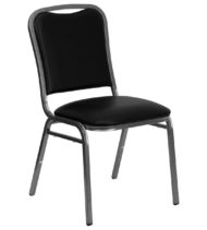 HERCULES Series Stacking Banquet Chair with Black Vinyl and 1.5'' Thick Seat - Silver Vein Frame -0