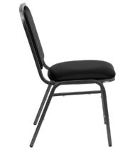 HERCULES Series Stacking Banquet Chair with Black Vinyl and 1.5'' Thick Seat - Silver Vein Frame -17039