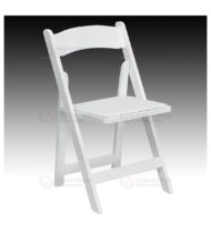 HERCULES Series White Wood Folding Chair with Vinyl Padded Seat -0