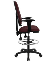 Mid Back Burgundy Fabric Multi-Functional Drafting Stool with Arms and Adjustable Lumbar Support -0