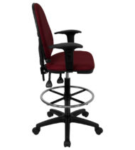 Mid Back Burgundy Fabric Multi-Functional Drafting Stool with Arms and Adjustable Lumbar Support -17463