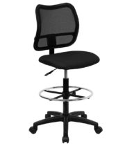 Value Star Mid-Back Mesh Drafting Stool with Black Fabric Seat -0