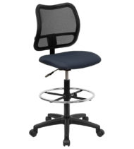 Mid-Back Mesh Drafting Stool with Navy Blue Fabric Seat -0