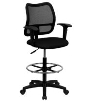 Value Star Mesh Drafting Stool with Black Fabric Seat and Arms -0