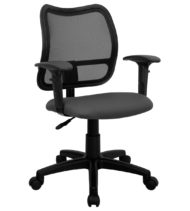 Mid-Back Mesh Task Chair with Gray Fabric Seat and Arms -0