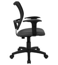 Mid-Back Mesh Task Chair with Gray Fabric Seat and Arms -17419