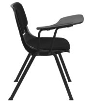 Padded Black Ergonomic Shell Chair with Right Handed Flip-Up Tablet Arm -17132