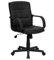 Performance Series Plush Black Leather Managers Chair-0