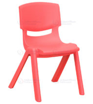 Red Plastic Stackable School Chair with 12'' Seat Height -0