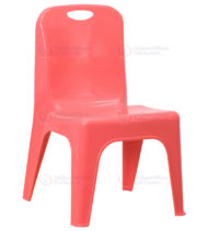 Red Plastic Stackable School Chair with Carrying Handle and 11'' Seat Height -0