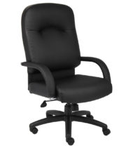 Boss High Back Leather Chair In Black-0