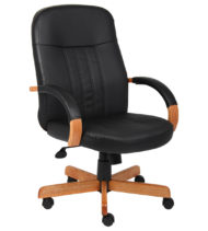 Boss Leather Exec. Chair W/ Oak Finish-0