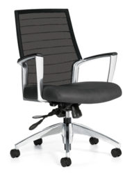 Quarter view of Global Furniture's Accord work chair. It has a silver wheel base and a black mesh back.