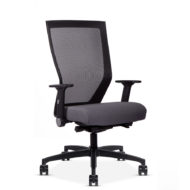 Quarter view of a Run II mesh back office chair with grey cushion.