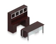 """Orthographic view of an Offices to Go desk and table set, using Layout 2. This set consists of a 71"""" wide metal table and a matching width credenza behind. The hutch above features double silver doors with frosted glass, and provides shelving for storage. A pair of rolling pedestal file drawers are pushed under the table, with an acrylic privacy panel in front, mounted under the desk. This layout is shown with the American Mahogany laminate finish."""