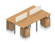 """Orthographic view of an Offices to Go set of tables, using Layout 5. Four 48"""" wide metal tables are formed, with an acrylic screen dividing facing workstations. A set of pedestal drawers has been rolled under each desk. This layout is shown here in an Autumn Walnut finish, with tungsten finished metal legs."""