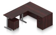 """Orthographic view of an Offices to Go corner desk set, using Layout 7. A 66"""" wide desk and 48"""" table are arranged in an L-shape, the height adjustable table set level with the desk. A set of three file and drawers are set into the right side, with an additional set of pedestal drawers rolled underneath the table (at the other side). This layout is featured in an American Mahogany finish."""
