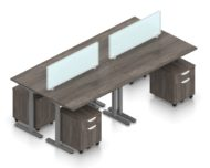 """Orthographic view of an Offices to Go set of tables, using Layout 8. Four 48"""" wide worksurfaces are formed, with an acrylic screen dividing facing workstations. Each table has an I-shaped support frame that is height adjustable. All tables are at equal height in this image. A set of pedestal drawers has been rolled under each desk. This layout is shown here in an Artisan Grey finish, with tungsten finished metal legs."""